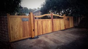 Iroko hardwood Chester design electric gates