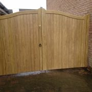 Idigbo Hardwood Swan Neck Driveway Gates in Light Oak
