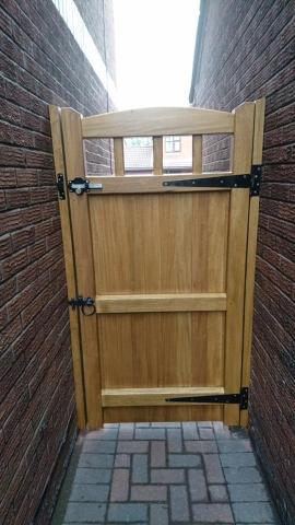 Idigbo hardwood lancashire design side gate rear view