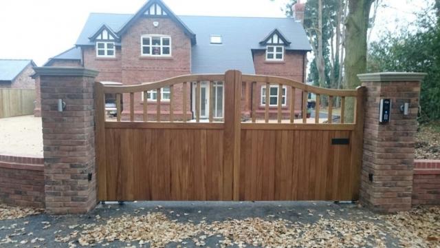 Iroko Chester Design Double Gates in Light Oak Teknos