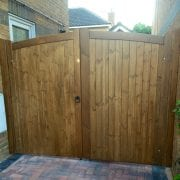 Lymm design softwood double gates in medium oak
