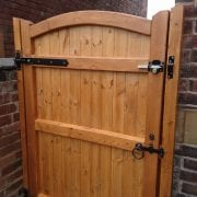 Softwood Side Gate Lymm Design Rear in Teak